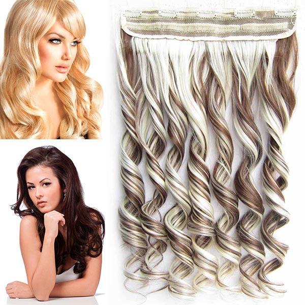 Clip in pás vlasů - vlnité lokny 55 cm - odstín - F8/613 (melír světle hnědé v beach blond)