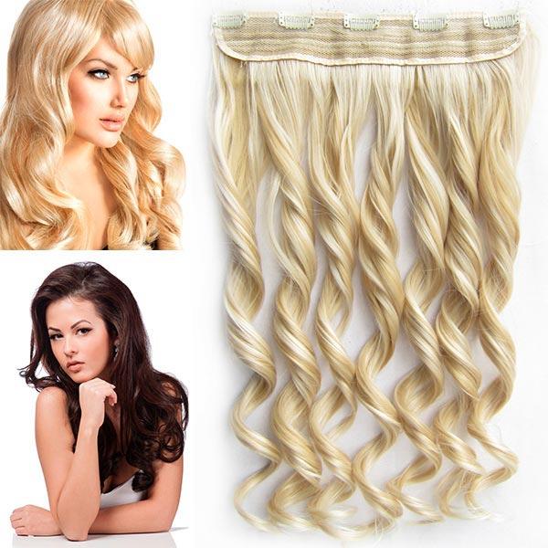 Clip in pás vlasů - vlnité lokny 55 cm - odstín - F22/613 (melír světle plavé v beach blond)