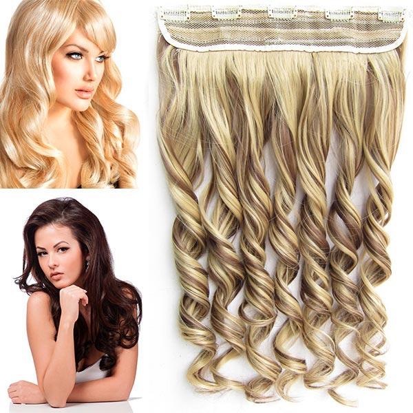 Clip in pás vlasů - vlnité lokny 55 cm - odstín - F22/10 (melír světle plavé v medově hnědé)