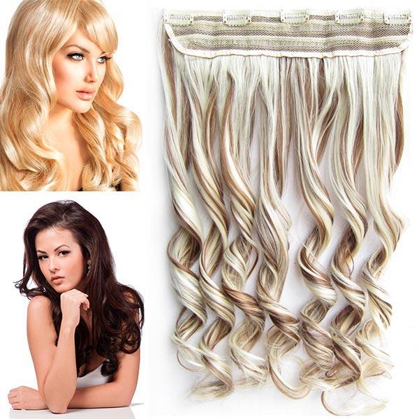 Clip in pás vlasů - vlnité lokny 55 cm - odstín - F12/613 (melír karamelově hnědé v beach blond)