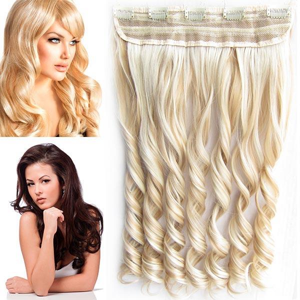 Clip in pás vlasů - vlnité lokny 55 cm - odstín - F18/613 (melír středně plavé v beach blond)