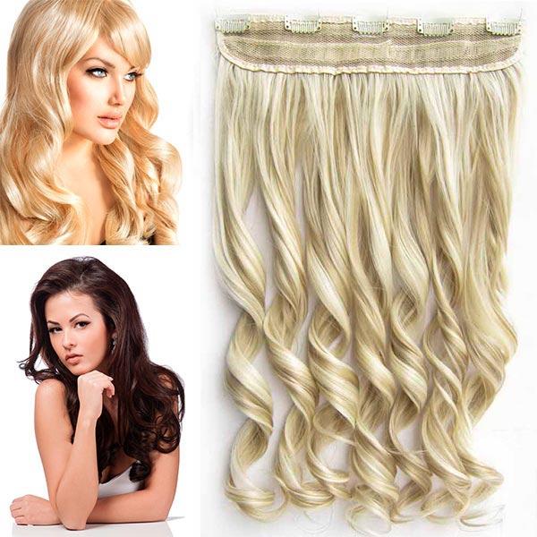 Clip in pás vlasů - vlnité lokny 55 cm - odstín - F24/613 (melír platinově plavé v beach blond)