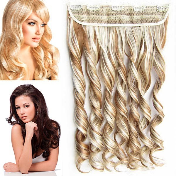 Clip in pás vlasů - vlnité lokny 55 cm - odstín - F27/613 (melír karamelové v beach blond)