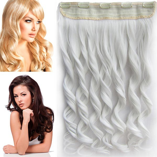 Clip in pás vlasů - vlnité lokny 55 cm - odstín bílý