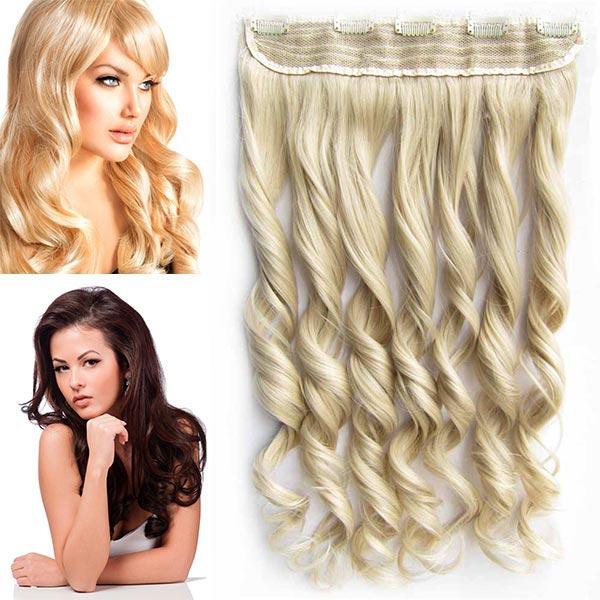 Clip in pás vlasů - vlnité lokny 55 cm - odstín - M24/613 (mix platinově plavá/beach blond)