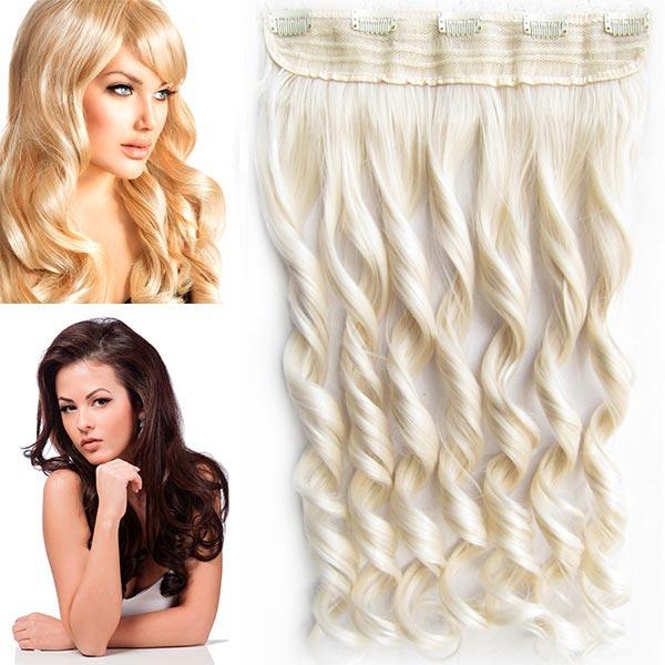 Clip in pás vlasů - vlnité lokny 55 cm - odstín - 60 (ledová blond)