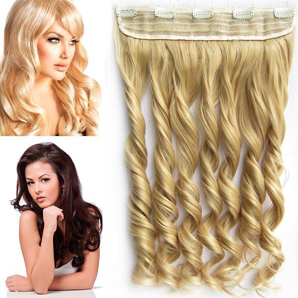 Clip in pás vlasů - vlnité lokny 55 cm - odstín - 22 (světle plavá)