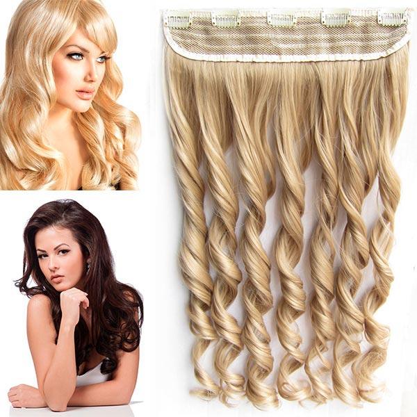 Clip in pás vlasů - vlnité lokny 55 cm - odstín - 18 (středně plavá)