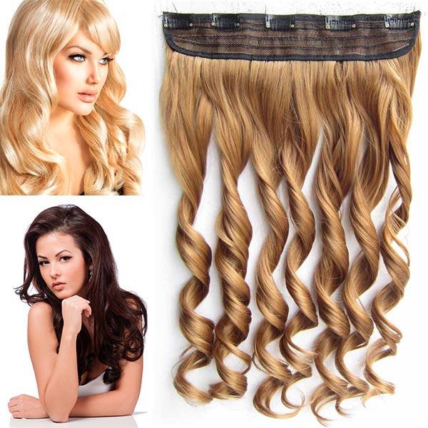 Clip in pás vlasů - vlnité lokny 55 cm - odstín - 27 (karamelová)