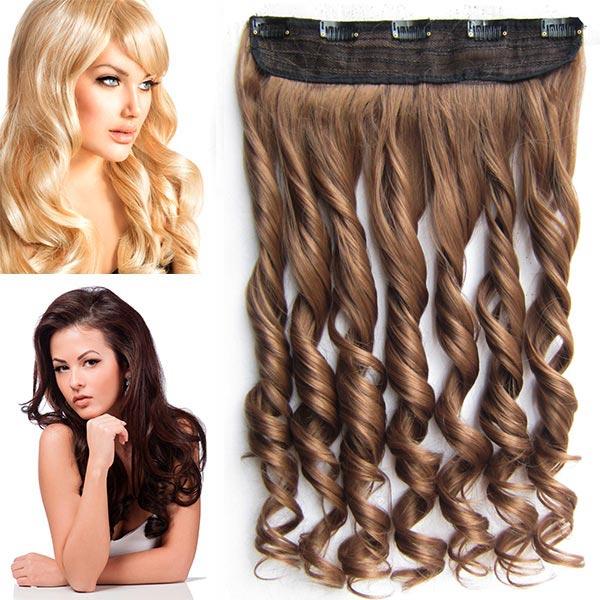 Clip in pás vlasů - vlnité lokny 55 cm - odstín - 12 (karamelově hnědá)