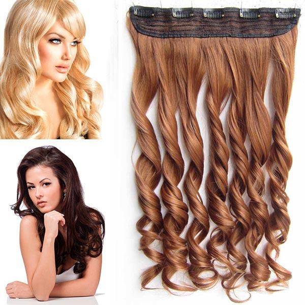 Clip in pás vlasů - vlnité lokny 55 cm - odstín - 30 (světlý kaštan)