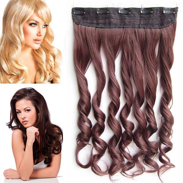 Clip in pás vlasů - vlnité lokny 55 cm - odstín - 33 (tmavý kaštan)