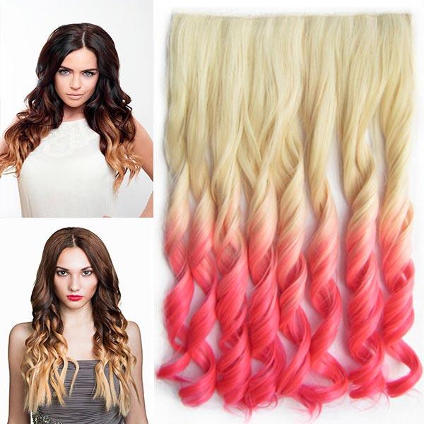Clip in pás vlasů - lokny 55 cm - ombre - odstín 613 T Pink