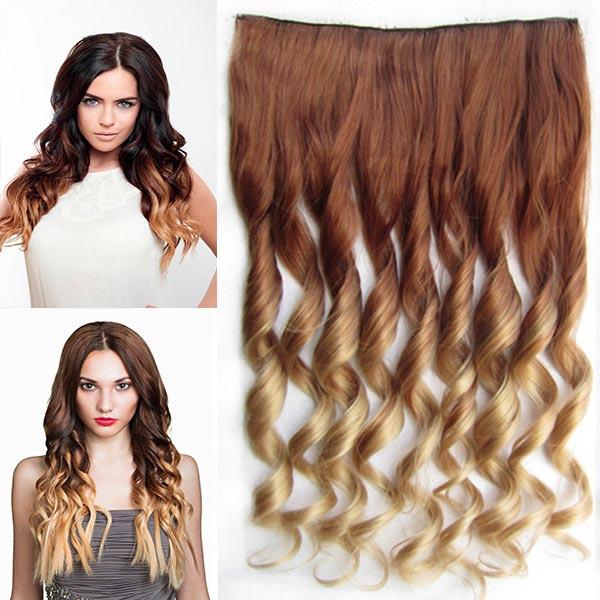 Clip in pás vlasů - lokny 55 cm - ombre - odstín 30 PT 24