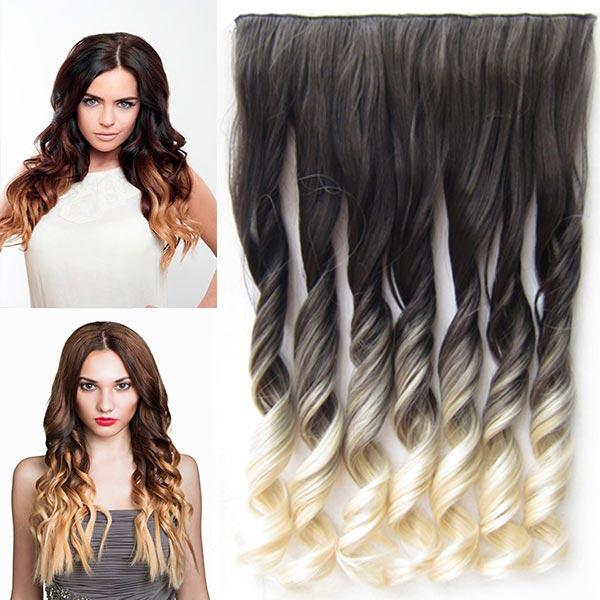 Clip in pás vlasů - lokny 55 cm - ombre odstín - odstín 2 T 613