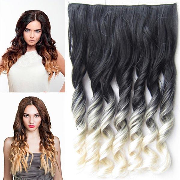 Clip in pás vlasů - lokny 55 cm - ombre odstín - odstín Black T 613