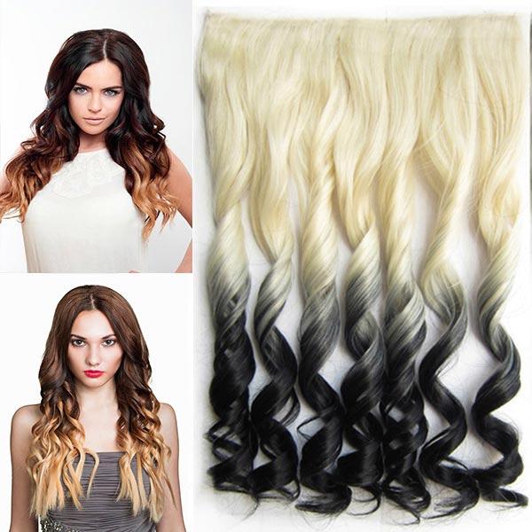 Clip in pás vlasů - lokny 55 cm - ombre odstín - odstín 613 T Black