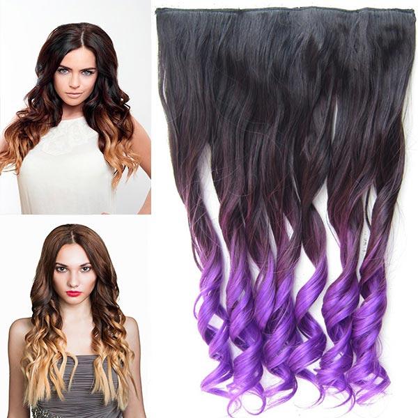 Clip in pás vlasů - lokny 55 cm - ombre odstín - odstín 2 T Purple