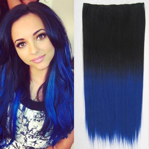 Clip in vlasy - 60 cm dlouhý pás vlasů - ombre styl - odstín Black T Blue