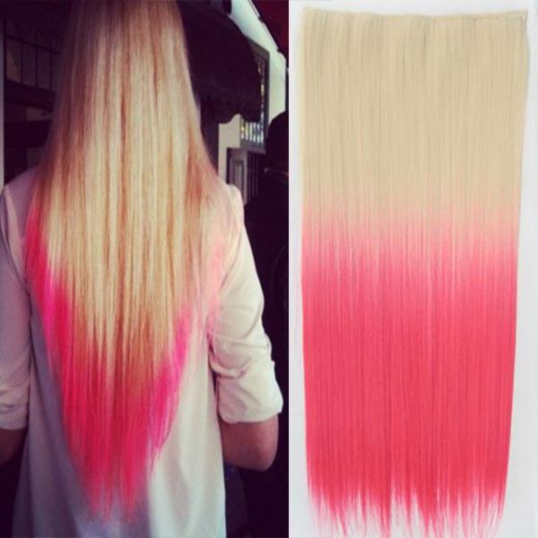 Clip in vlasy - 60 cm dlouhý pás vlasů - ombre styl - odstín 613 T Pink