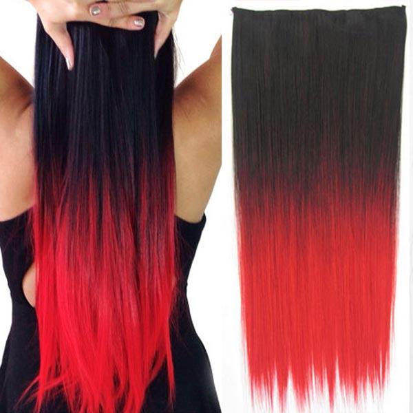 Clip in vlasy - 60 cm dlouhý pás vlasů - ombre styl 1B/ČERVENÁ