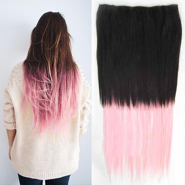 Clip in vlasy - 60 cm dlouhý pás vlasů - ombre styl - odstín 2 T Light Pink
