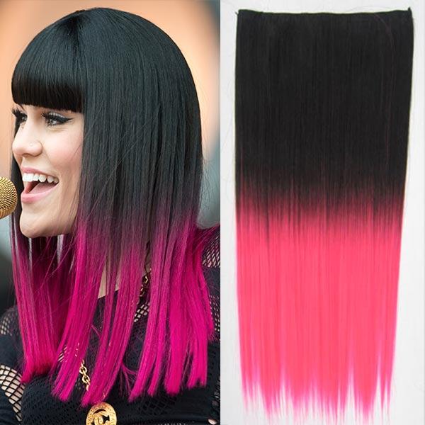 Clip in vlasy - 60 cm dlouhý pás vlasů - ombre styl - odstín Black T Pink