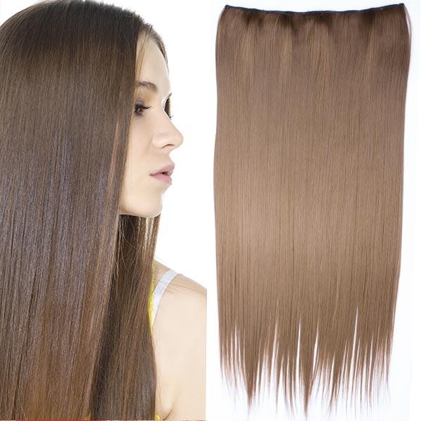 Clip in vlasy - 60 cm dlouhý pás vlasů - odstín 6P - hnědá