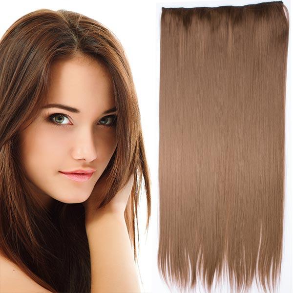 Clip in vlasy - 60 cm dlouhý pás vlasů - odstín 6A - hnědá