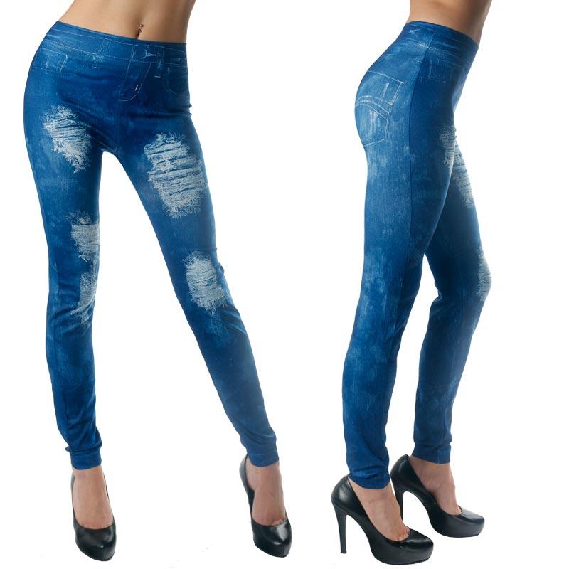 Dámské legínové kalhoty - imitace děravých džínů - modré