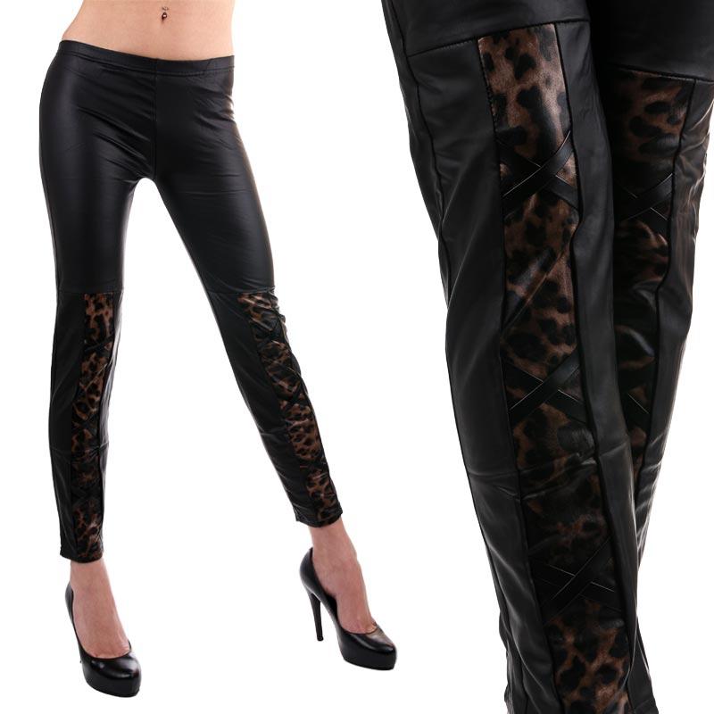 V&V Legíny - vzhled kůže s gepardím vzorem a šněrováním - XL / XXL