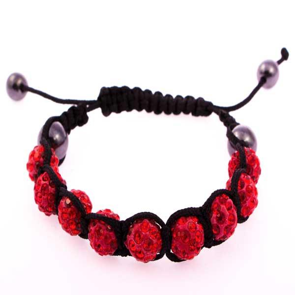 Shamballa náramek s červenými krystaly