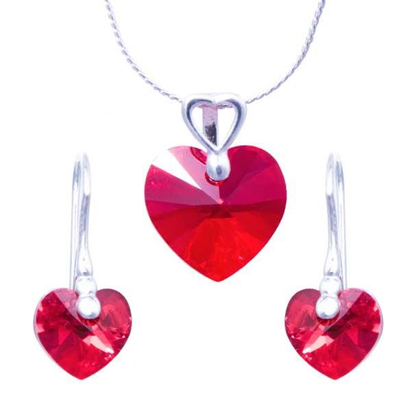 Stříbrná souprava Swarovski elements – sada srdce Light Siam AB