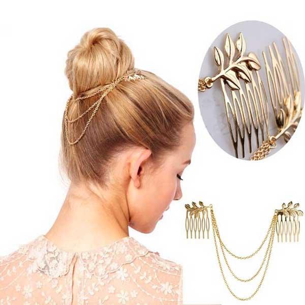 Zlaté řetízky do vlasů s listy