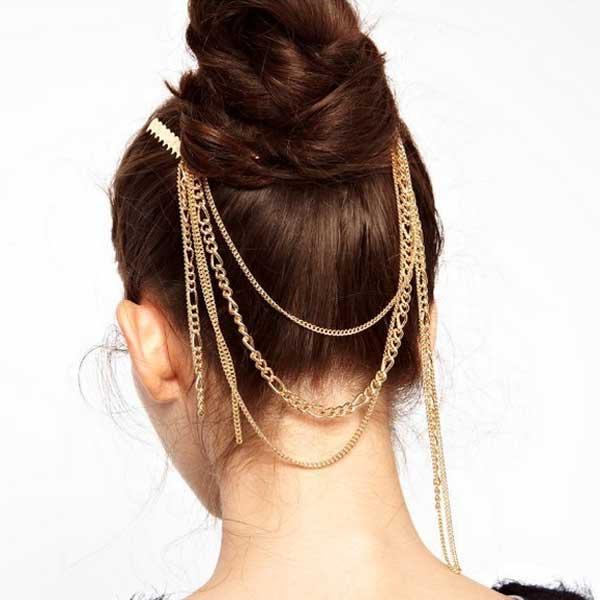 V&V Zlaté řetízky do vlasů s třásněmi