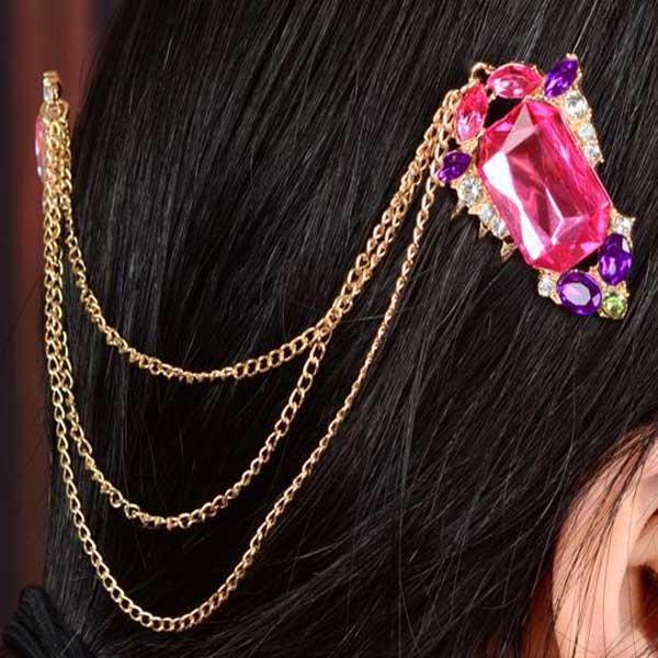 Zlaté řetízky do vlasů s rubíny
