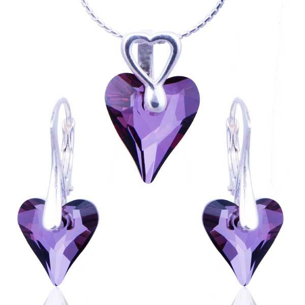 Stříbrná souprava Swarovski elements – Divoké srdce Crystal Lish (Crystal Lish) S274533695I