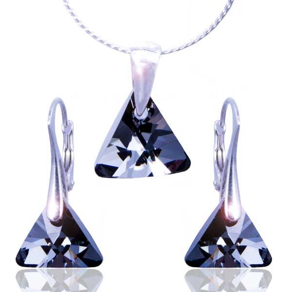 Stříbrná souprava Swarovski elements – Triangle Silver Night