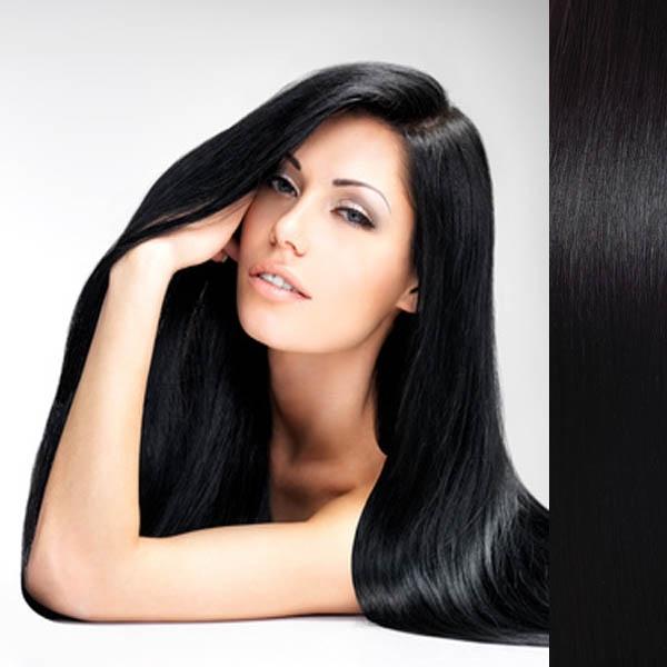 Svěrové zboží Clip in vlasy 100% lidské – Remy 125 g - pás vlasů - 1B - černá - 1# (uhlově černá)
