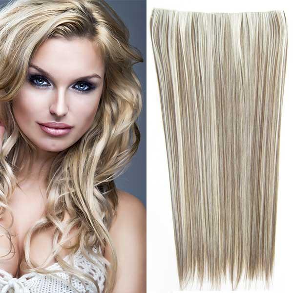 Clip in vlasy - 60 cm dlouhý pás vlasů - odstín - F9/613 (melír temně plavé v beach blond)