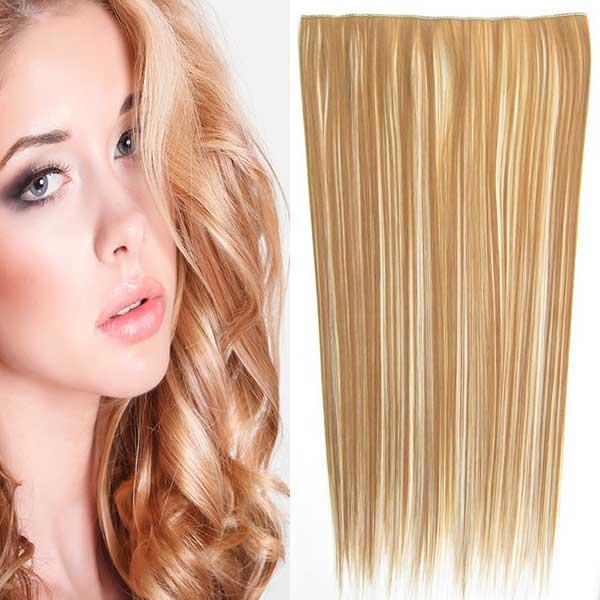 Clip in vlasy - 60 cm dlouhý pás vlasů - odstín - F613/27 (melír beach blond v karamelové)