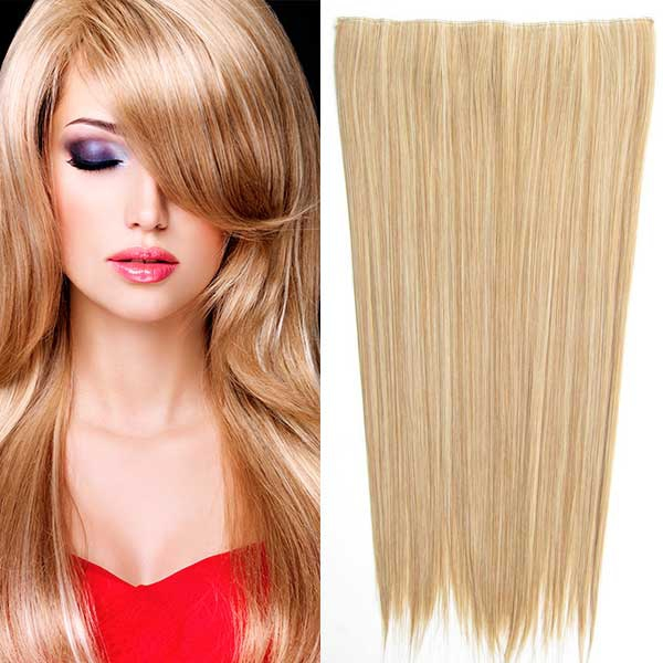 Clip in vlasy - 60 cm dlouhý pás vlasů - odstín - M27/613 (mix karamelová/beach blond)