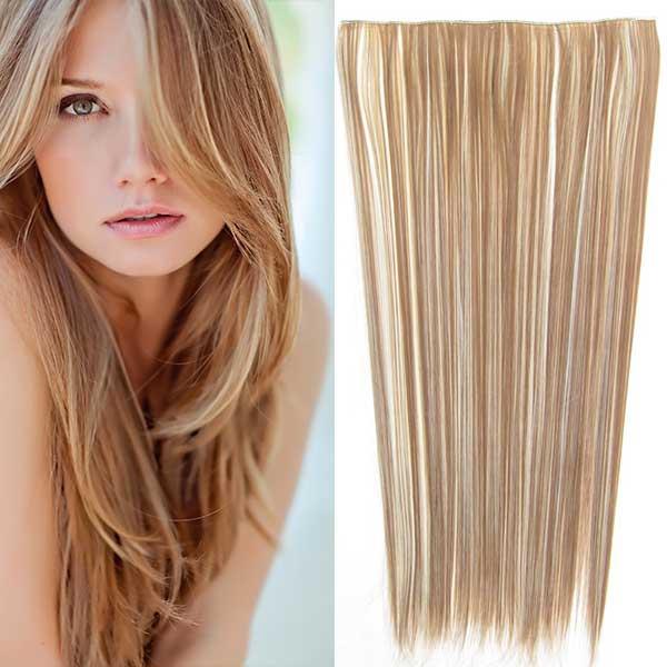 Clip in vlasy - 60 cm dlouhý pás vlasů - odstín - F613/12 (melír beach blond v karamelově hnědé)