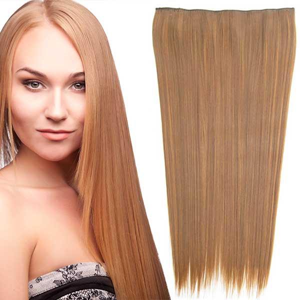 Clip in vlasy - 60 cm dlouhý pás vlasů - odstín - F6A/27 (melír nugátově hnědé v karamelové)