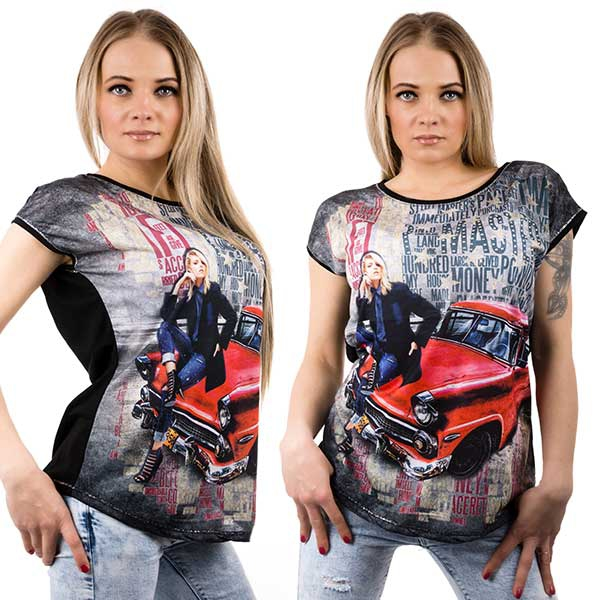 Černé tričko s motivem auta - velikost L