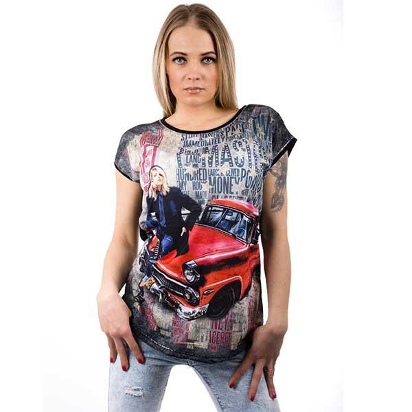 Černé tričko s motivem auta - velikost XL