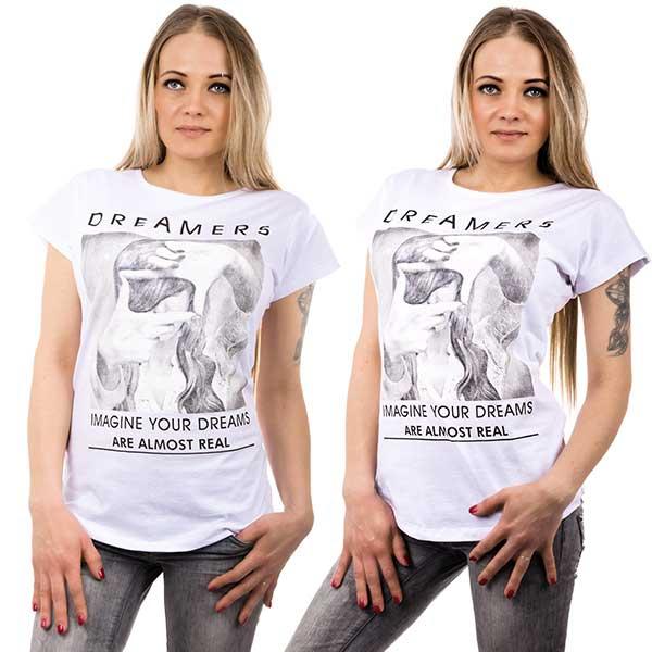 Bílé tričko s motivem dreamers - velikost L