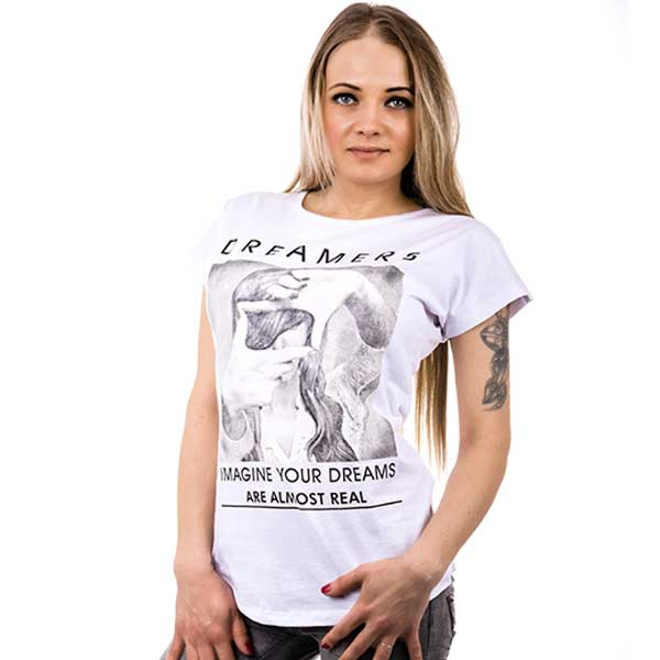 V&V Bílé tričko s motivem dreamers - M