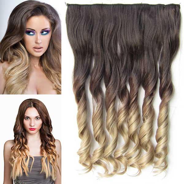 Clip in pás vlasů - lokny 55 cm - ombre - odstín 4 T 16
