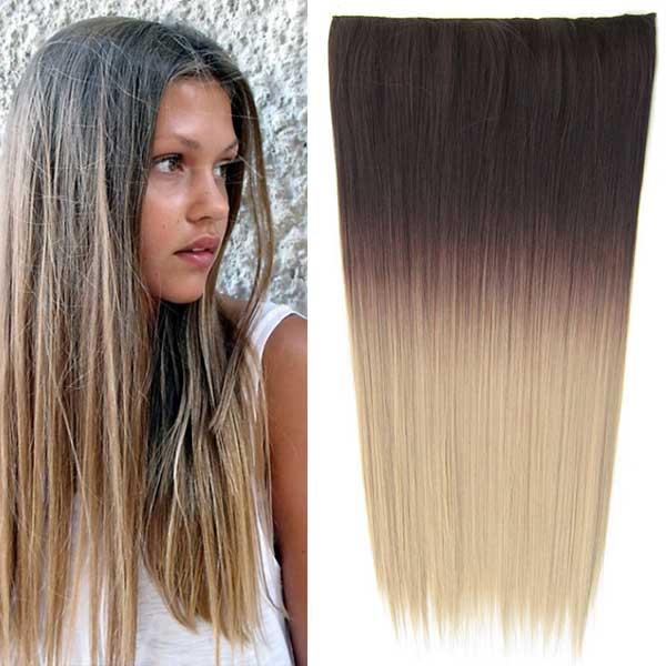 Clip in vlasy - 60 cm dlouhý pás vlasů - ombre styl - odstín 4 T 16